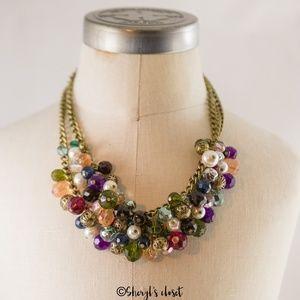Avon Statement bib necklace bobble multi-color